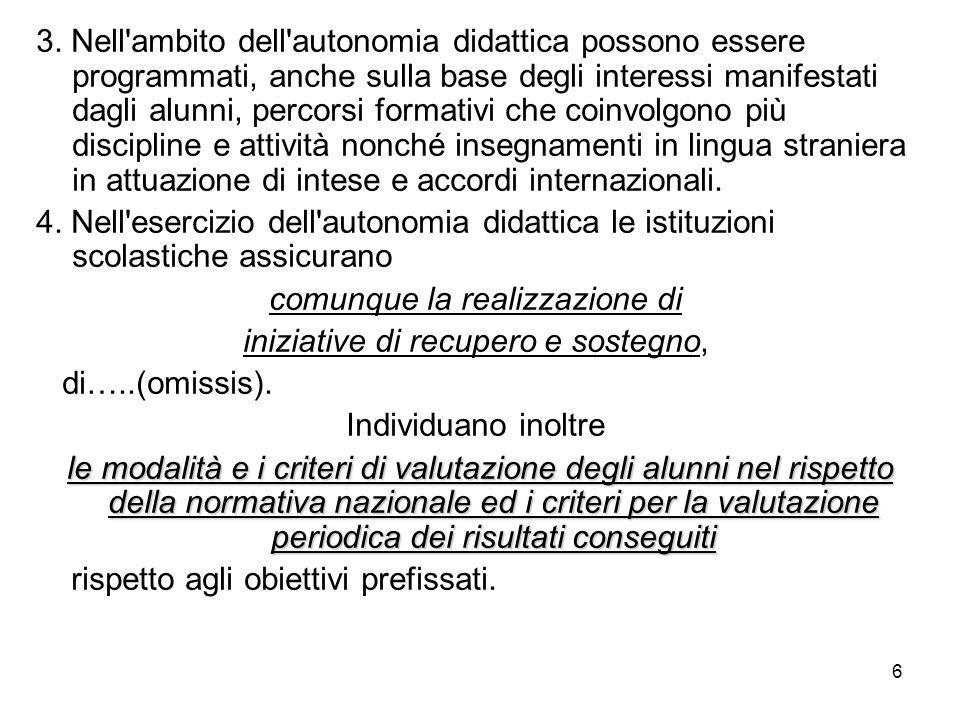 6 3. Nell'ambito dell'autonomia didattica possono essere programmati, anche sulla base degli interessi manifestati dagli alunni, percorsi formativi ch