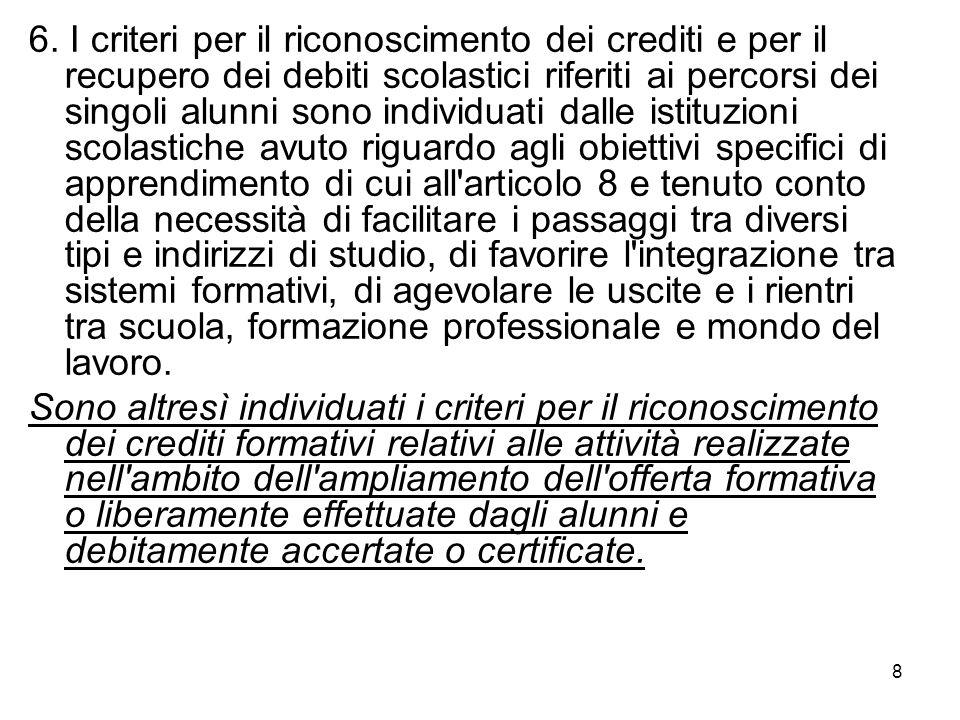 8 6. I criteri per il riconoscimento dei crediti e per il recupero dei debiti scolastici riferiti ai percorsi dei singoli alunni sono individuati dall