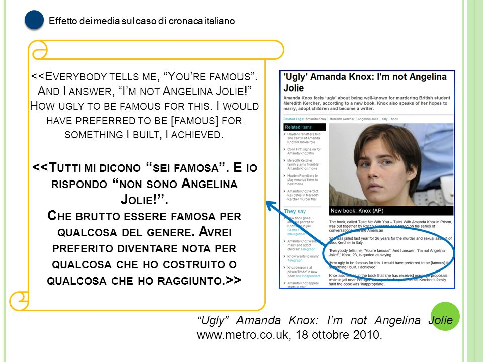 > Ugly Amanda Knox: Im not Angelina Jolie www.metro.co.uk, 18 ottobre 2010. Effetto dei media sul caso di cronaca italiano