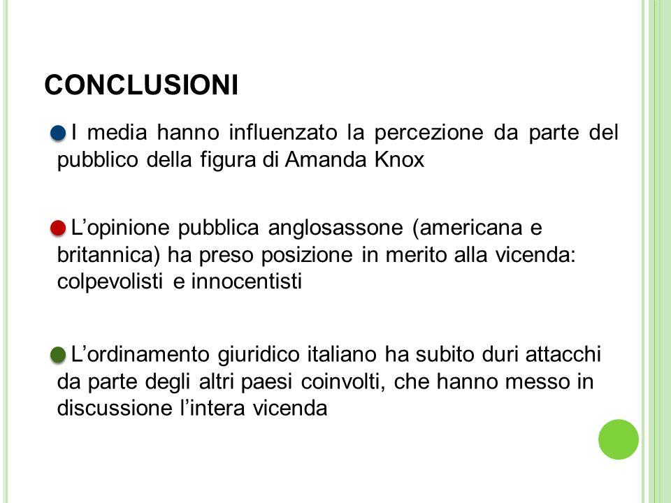 I media hanno influenzato la percezione da parte del pubblico della figura di Amanda Knox Lopinione pubblica anglosassone (americana e britannica) ha