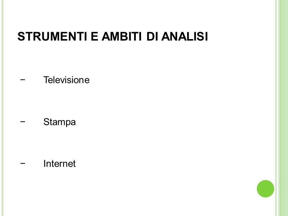 STRUMENTI E AMBITI DI ANALISI Televisione Stampa Internet