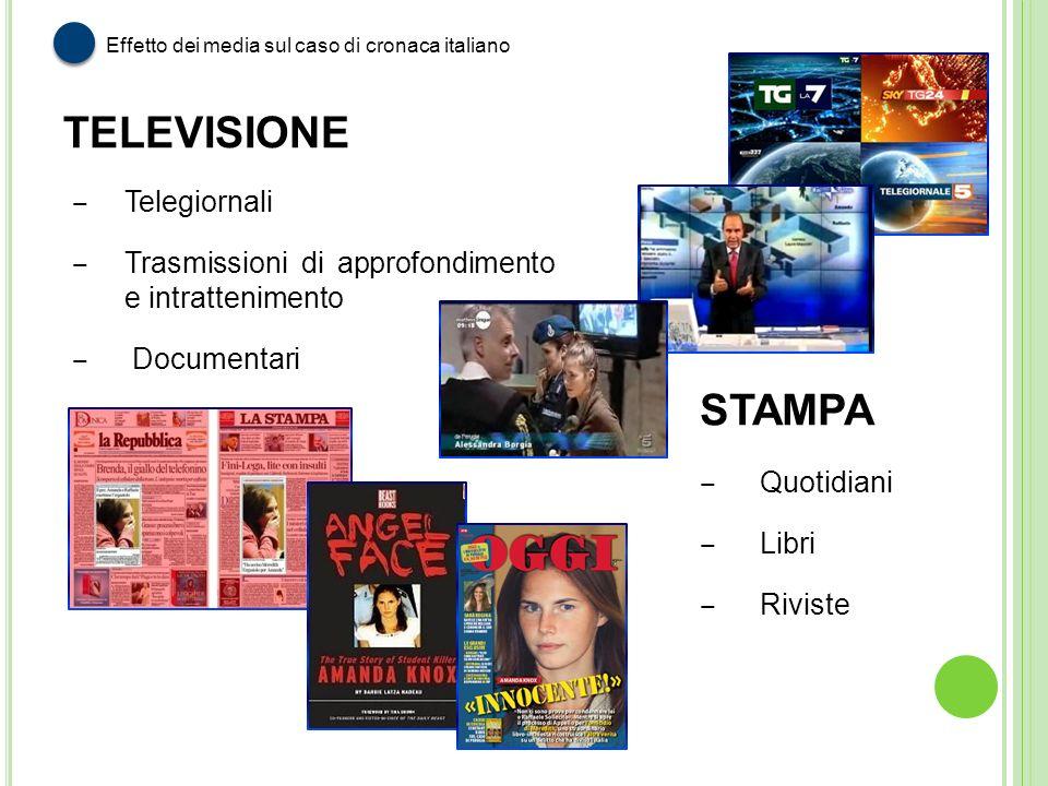 Effetto dei media sul caso di cronaca italiano Telegiornali Trasmissioni di approfondimento e intrattenimento Documentari STAMPA Quotidiani Libri Rivi