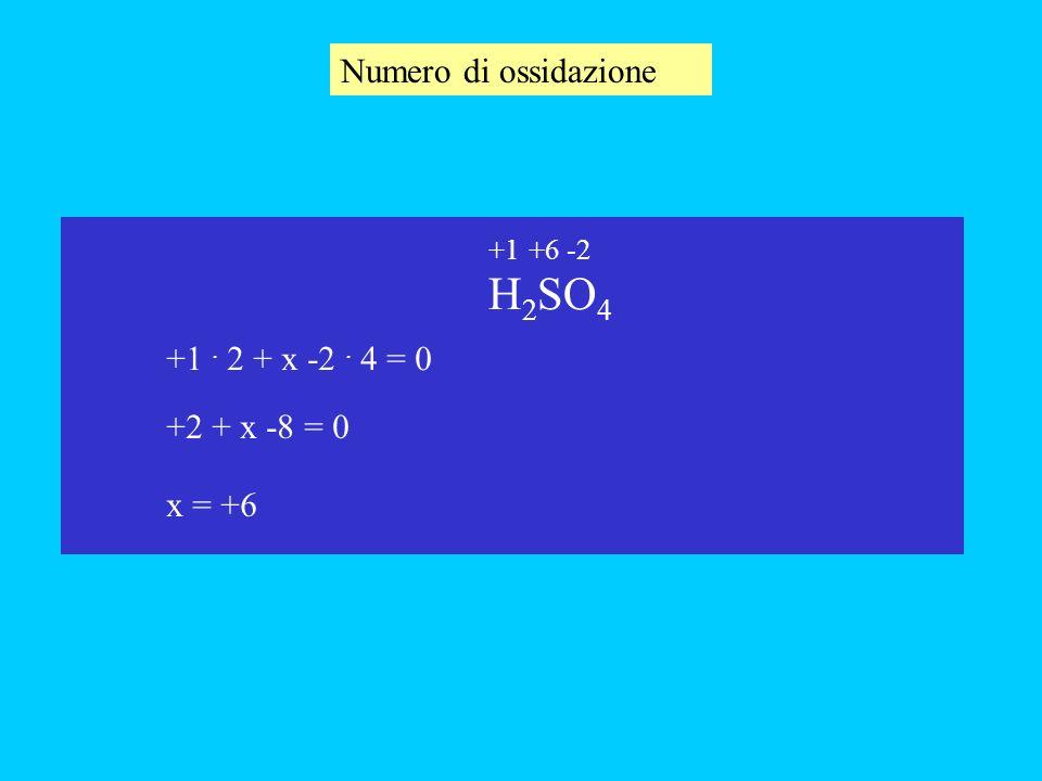 Numero di ossidazione H 2 SO 4 +1. 2 + x -2. 4 = 0 x +2 + x -8 = 0 x = +6 +6-2+1