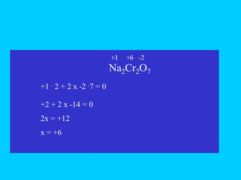 Na 2 Cr 2 O 7 +1. 2 + 2 x -2. 7 = 0 x +2 + 2 x -14 = 0 2x = +12 +6-2+1 x = +6