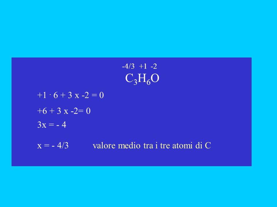 C3H6O C3H6O +1. 6 + 3 x -2 = 0 x +6 + 3 x -2= 0 3x = - 4 -4/3-2+1 x = - 4/3valore medio tra i tre atomi di C