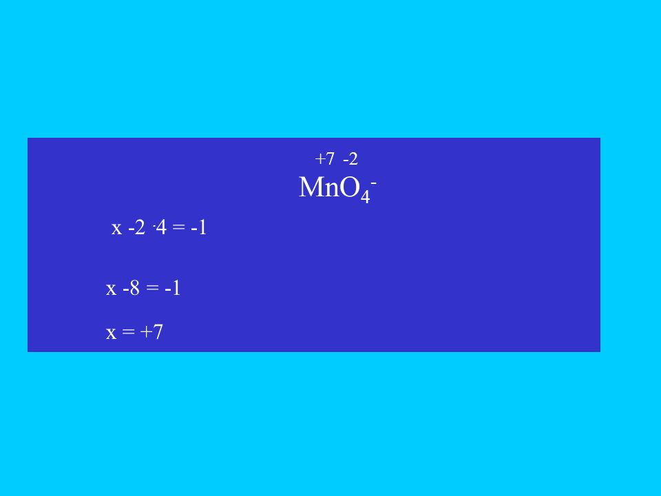 MnO 4 - x -2. 4 = -1 x x -8 = -1 +7-2 x = +7