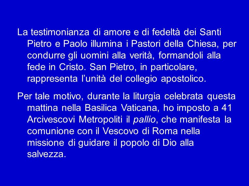 Oggi nella solennità dei Santi Pietro e Paolo, Patroni di questa Città, cantiamo così: