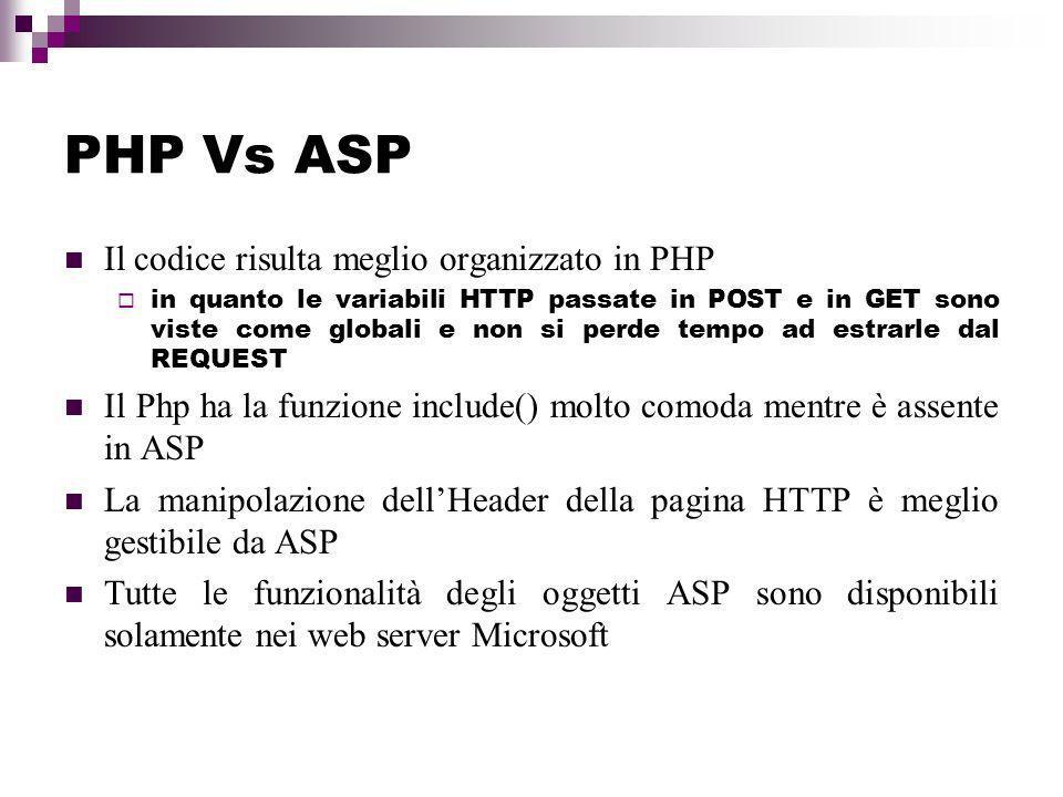 PHP Vs ASP Il codice risulta meglio organizzato in PHP in quanto le variabili HTTP passate in POST e in GET sono viste come globali e non si perde tempo ad estrarle dal REQUEST Il Php ha la funzione include() molto comoda mentre è assente in ASP La manipolazione dellHeader della pagina HTTP è meglio gestibile da ASP Tutte le funzionalità degli oggetti ASP sono disponibili solamente nei web server Microsoft