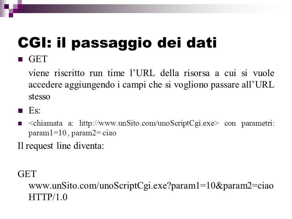 CGI: il passaggio dei dati GET viene riscritto run time lURL della risorsa a cui si vuole accedere aggiungendo i campi che si vogliono passare allURL stesso Es: con parametri: param1=10, param2= ciao Il request line diventa: GET www.unSito.com/unoScriptCgi.exe?param1=10&param2=ciao HTTP/1.0