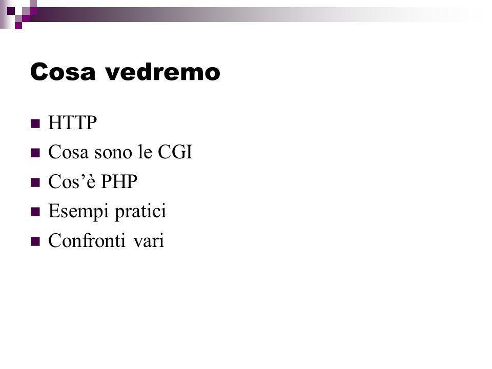 CGI e PHP: fondamentali differenze PHP è un linguaggio embedded nel codice HTML delle pagine, e non necessita quindi di ulteriori file esterni per essere eseguito; uno script PHP, di fatto, non ha bisogno di installazione.