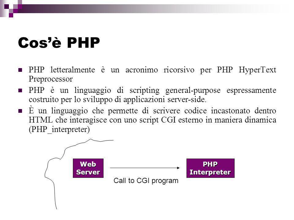 Cosè PHP PHP letteralmente è un acronimo ricorsivo per PHP HyperText Preprocessor PHP è un linguaggio di scripting general-purpose espressamente costruito per lo sviluppo di applicazioni server-side.