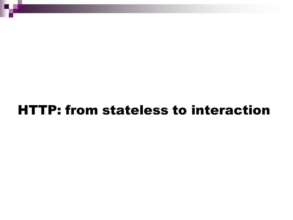 HTTP HTTP: Webs RPC (Remote Procedure Calls) basate su TCP/IP Il web viene visto come un grande URL-based file server Il web su http è centrato sul concetto di Documento e di ipertesto HTTP è senza stato (stateless) Ogni richiesta corrisponde ad una nuova connessione Non cè interazione tra una richiesta e laltra