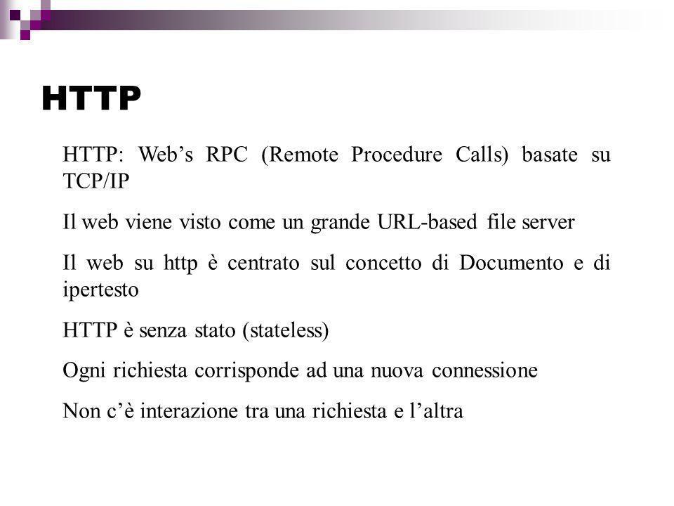 Il protocollo HTTP Si basa su due fasi: Richiesta (HTTP:Request) Risposta (HTTP:Response) Ognuna di queste fasi è a sua volta scomponibile: Request: line, header, body Response: header line, headers fields, body