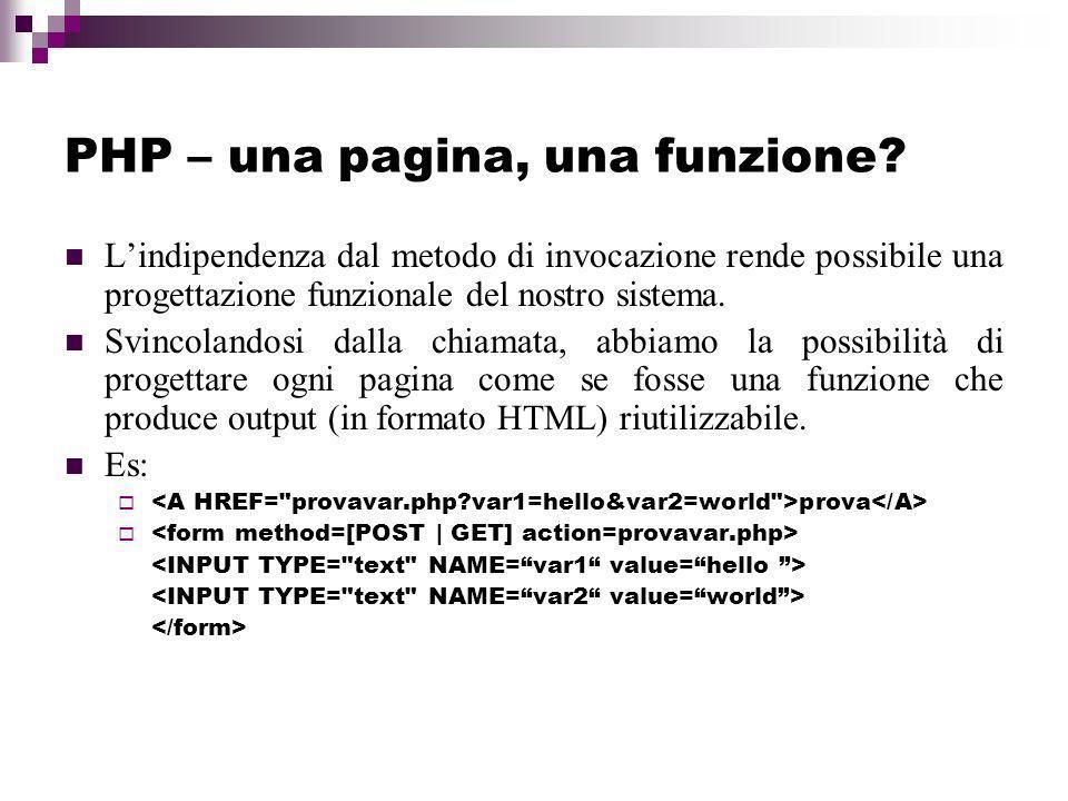 PHP – una pagina, una funzione.