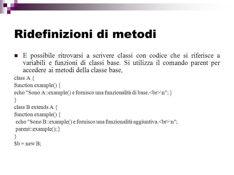 Ridefinizioni di metodi E possibile ritrovarsi a scrivere classi con codice che si riferisce a variabili e funzioni di classi base.