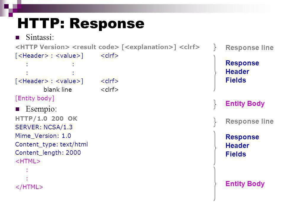 HTTP: Response Sintassi: [ ] [ : ] :: blank line [Entity body] Esempio: HTTP/1.0 200 OK SERVER: NCSA/1.3 Mime_Version: 1.0 Content_type: text/html Content_length: 2000 : Response line Response Header Fields Entity Body Response line Response Header Fields Entity Body