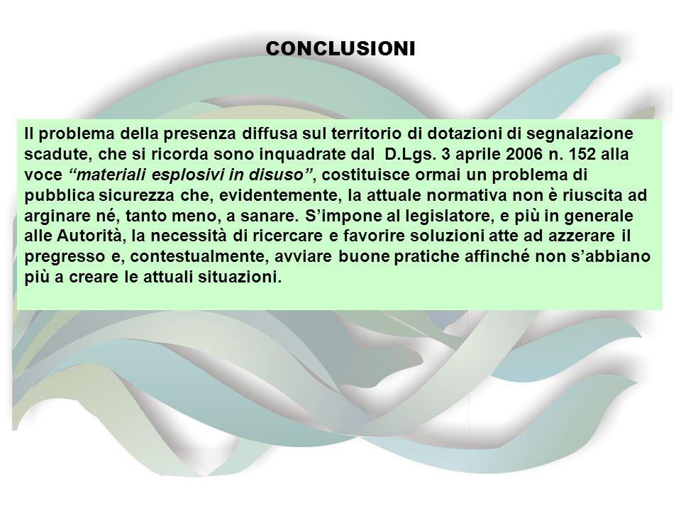 CONCLUSIONI Il problema della presenza diffusa sul territorio di dotazioni di segnalazione scadute, che si ricorda sono inquadrate dal D.Lgs.