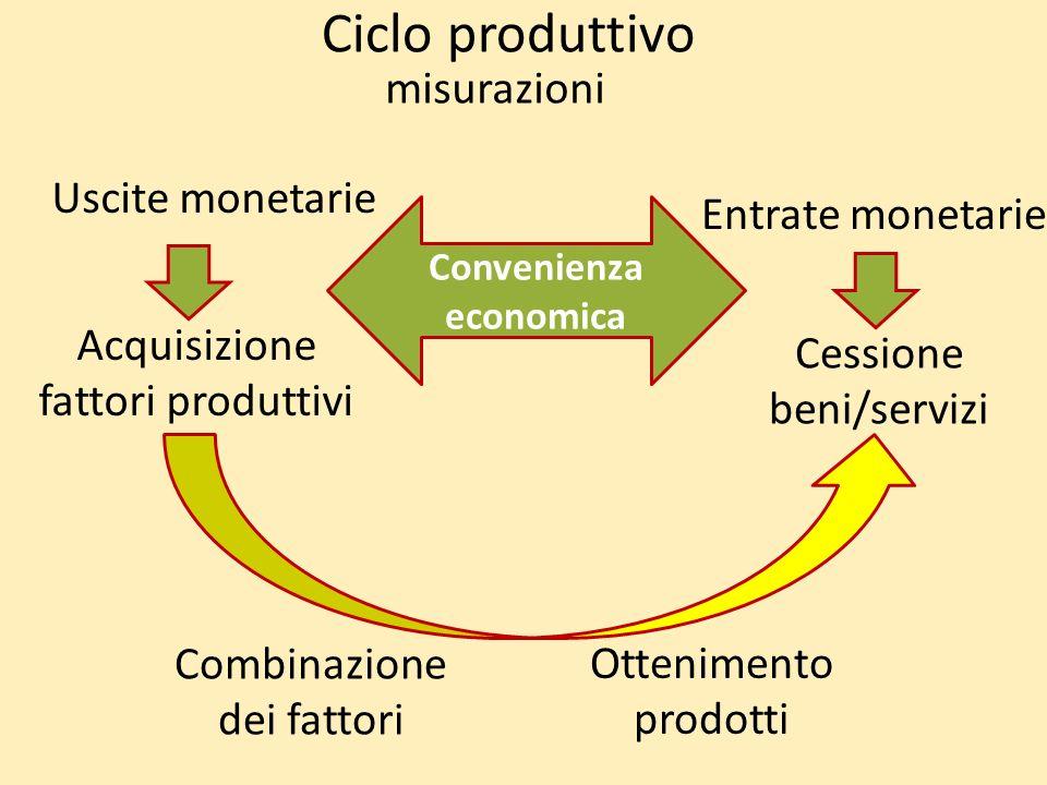 Ciclo produttivo Acquisizione fattori produttivi Combinazione dei fattori Ottenimento prodotti Cessione beni/servizi Uscite monetarie Entrate monetarie misurazioni Convenienza economica