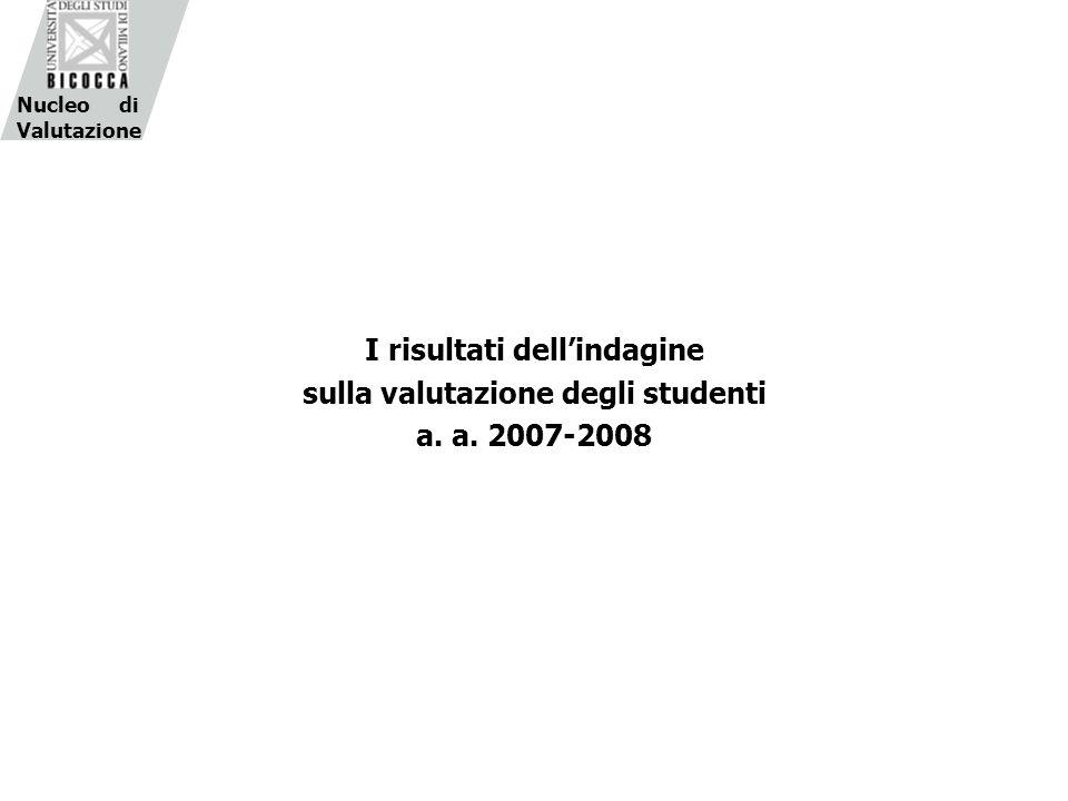 I risultati dellindagine sulla valutazione degli studenti a. a. 2007-2008 Nucleo di Valutazione