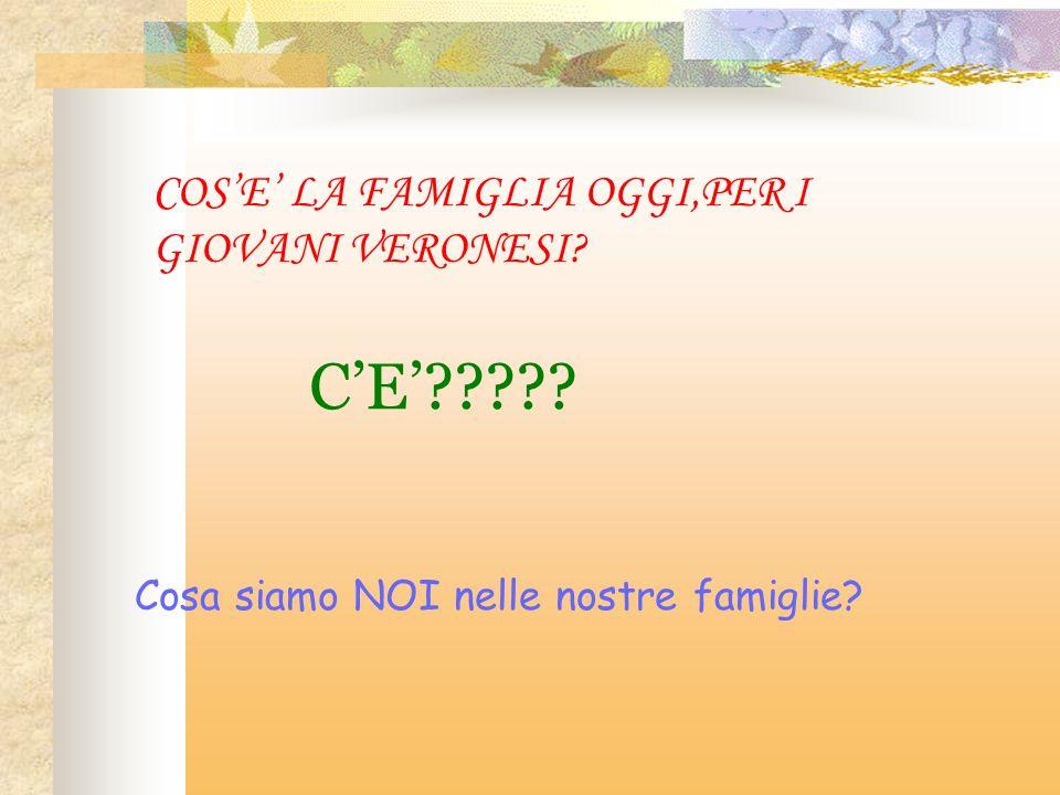 COSE LA FAMIGLIA OGGI,PER I GIOVANI VERONESI? CE????? Cosa siamo NOI nelle nostre famiglie?