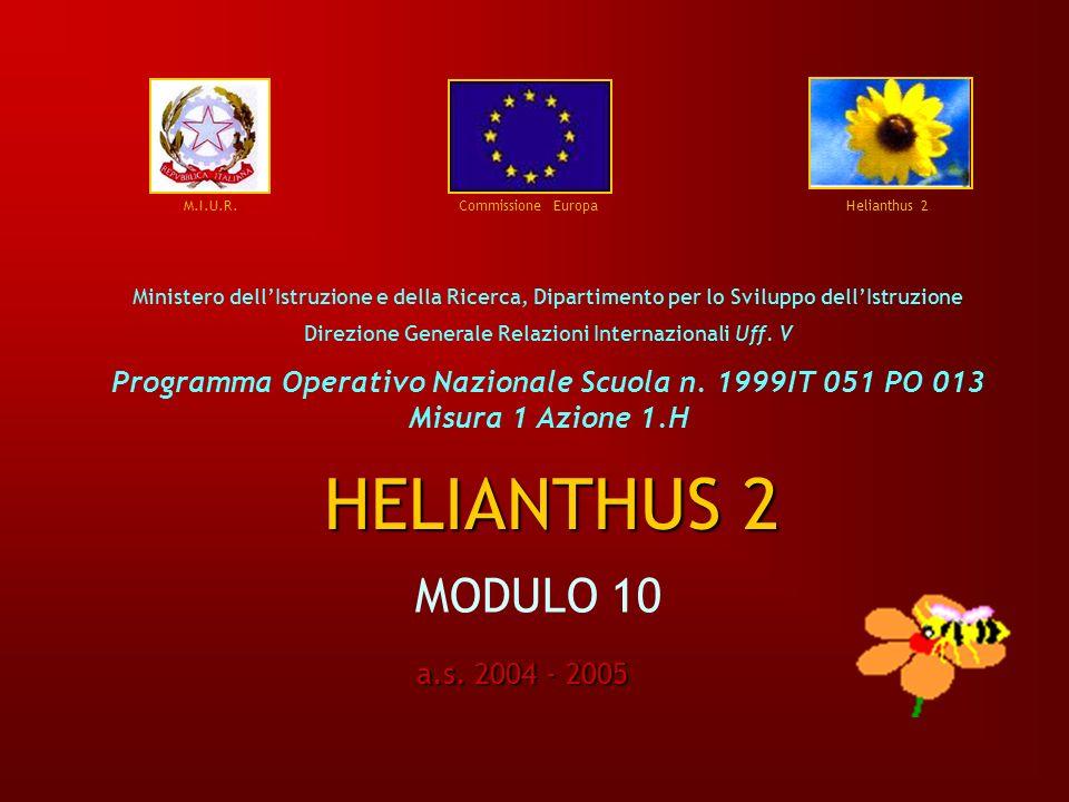 M.I.U.R. Commissione Europa Helianthus 2 Ministero dellIstruzione e della Ricerca, Dipartimento per lo Sviluppo dellIstruzione Direzione Generale Rela