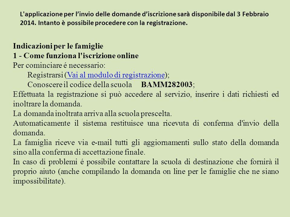 Indicazioni per le famiglie 1 - Come funziona l'iscrizione online Per cominciare é necessario: Registrarsi (Vai al modulo di registrazione);Vai al mod