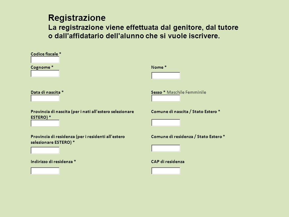 Codice fiscale * Cognome * Nome * Data di nascita *Sesso * Maschile Femminile Provincia di nascita (per i nati all'estero selezionare ESTERO) * Comune