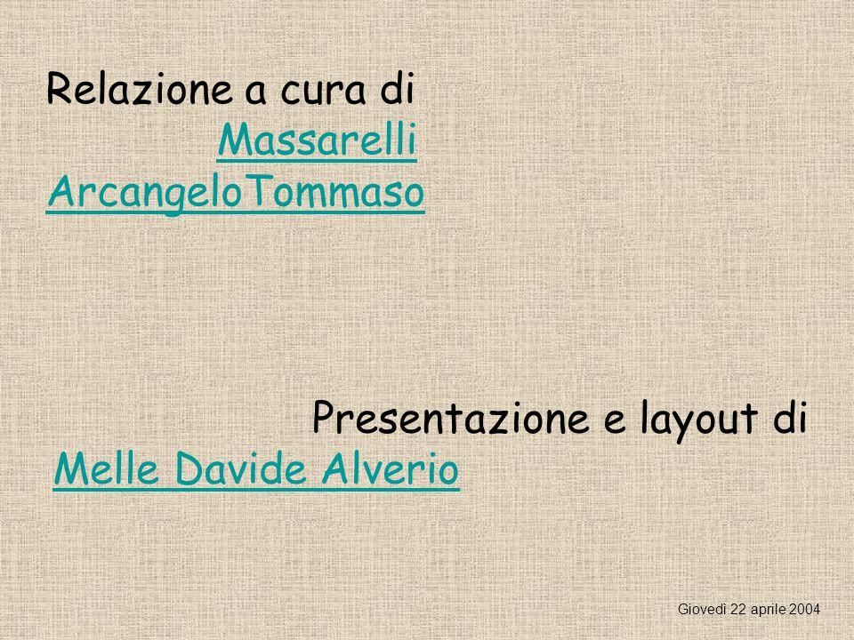 Relazione a cura di Massarelli ArcangeloTommaso Presentazione e layout di Melle Davide Alverio Giovedì 22 aprile 2004