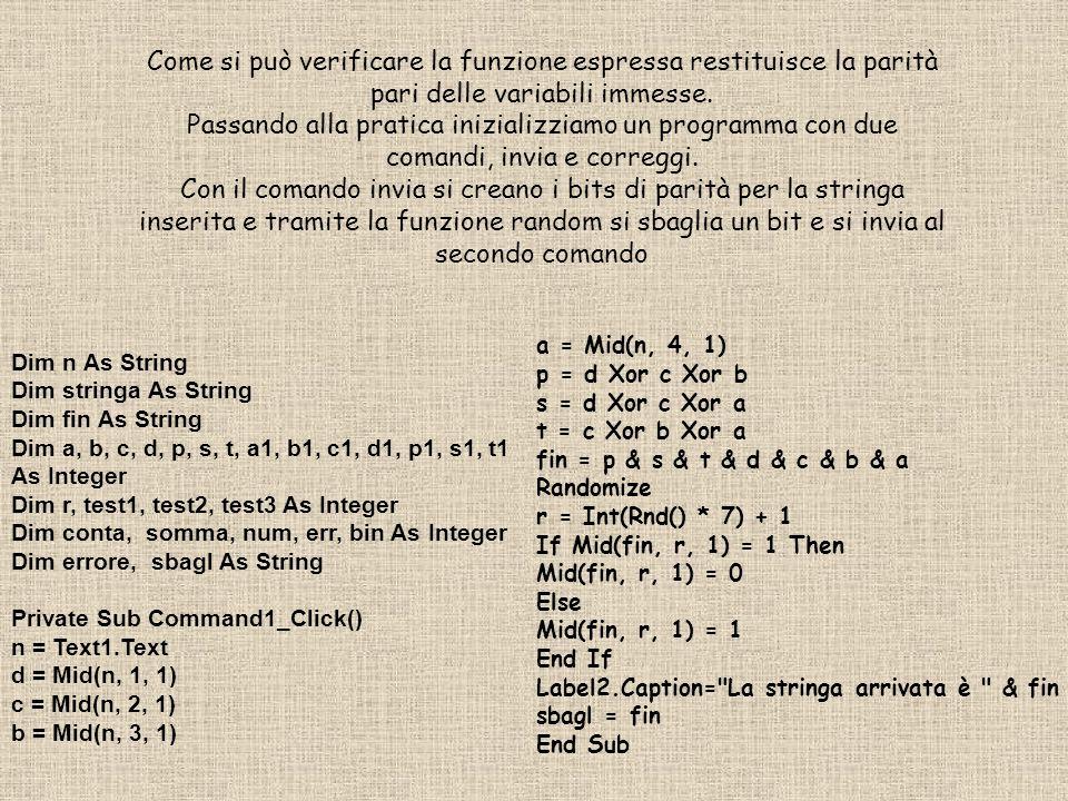 Si otterrà così una stringa di nome sbagl, che contiene il numero inviato completo di bit di parità ed errore già inserito.