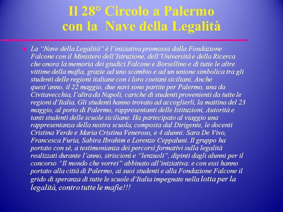 Il 28° Circolo a Palermo con la Nave della Legalità La Nave della Legalità è liniziativa promossa dalla Fondazione Falcone con il Ministero dellIstruz