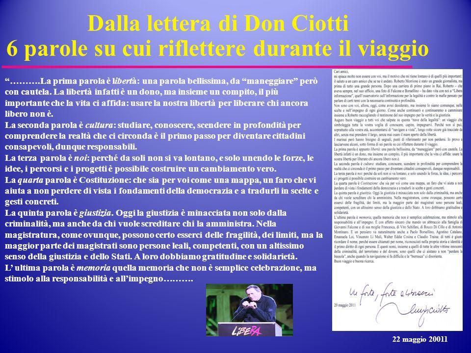 Dalla lettera di Don Ciotti 6 parole su cui riflettere durante il viaggio ……….La prima parola è libertà: una parola bellissima, da maneggiare però con