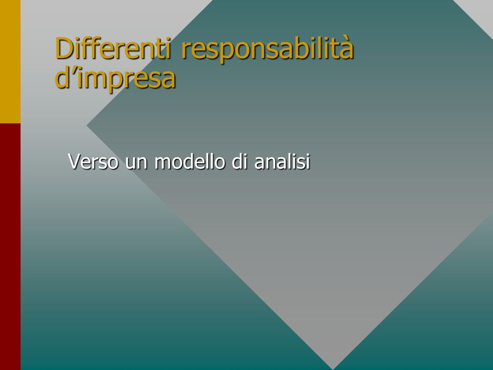 Differenti responsabilità dimpresa Verso un modello di analisi Verso un modello di analisi
