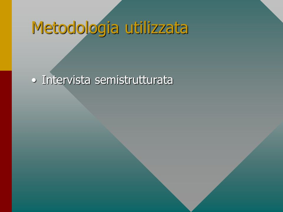 Metodologia utilizzata Intervista semistrutturataIntervista semistrutturata