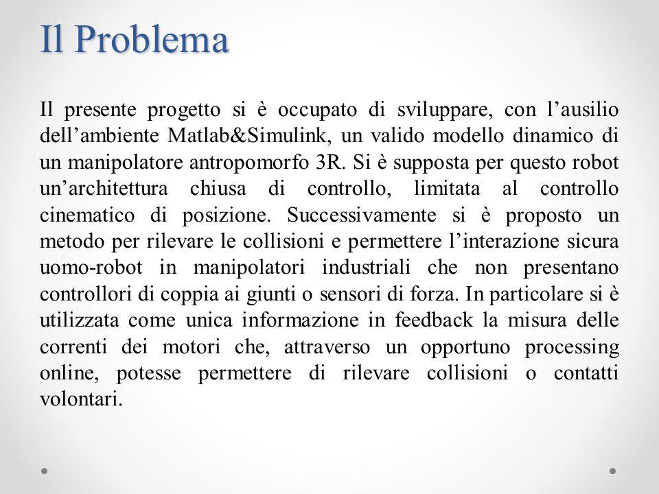 Test 1 Il manipolatore è fermo in posizione q=(0° 0° 0°) quando allistante t=10s avviene una collisione modellata come un impulso lungo lasse z.