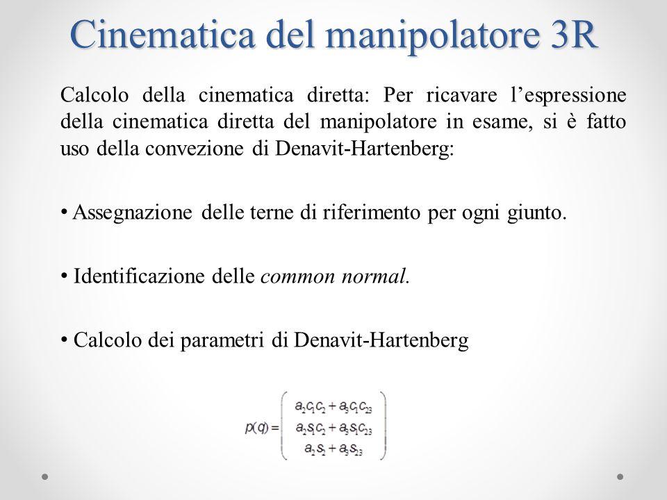 Calcolo della cinematica differenziale: Derivando nel tempo lespressione della cinematica diretta si ottiene la matrice jacobiana per la cinematica differenziale.