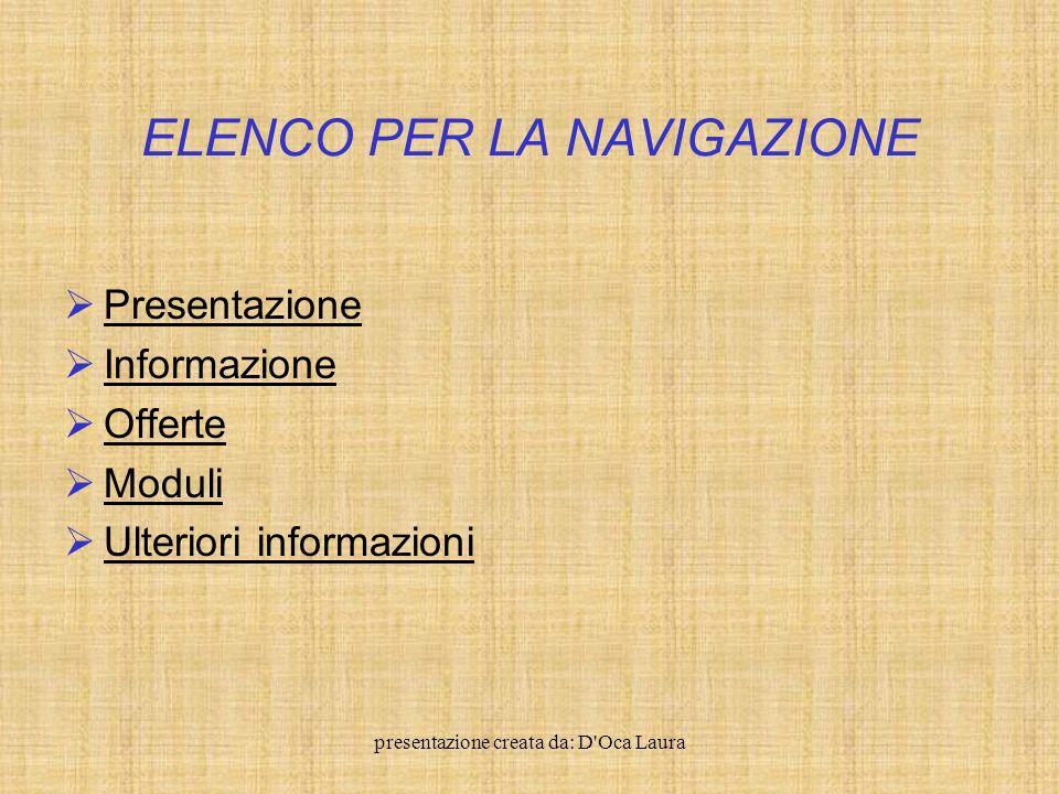 presentazione creata da: D Oca Laura Elenco per la navigazione