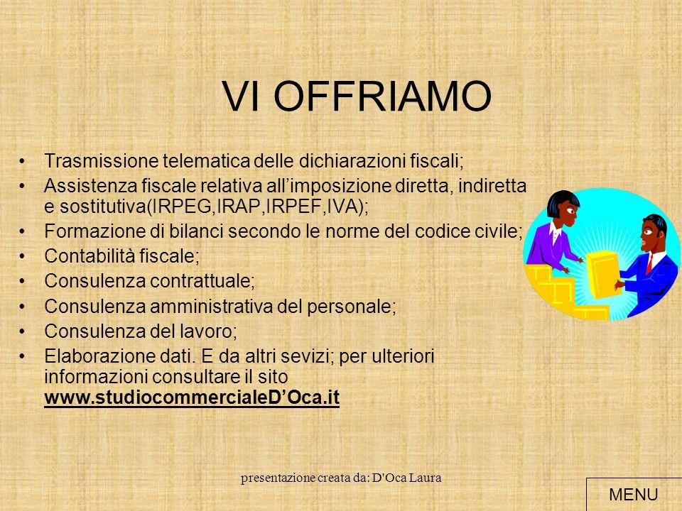 presentazione creata da: D Oca Laura INFORMAZIONI Lo studio nasce nel 1986 a sede a Palermo.