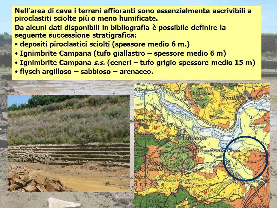Nellarea di cava i terreni affioranti sono essenzialmente ascrivibili a piroclastiti sciolte più o meno humificate. Da alcuni dati disponibili in bibl