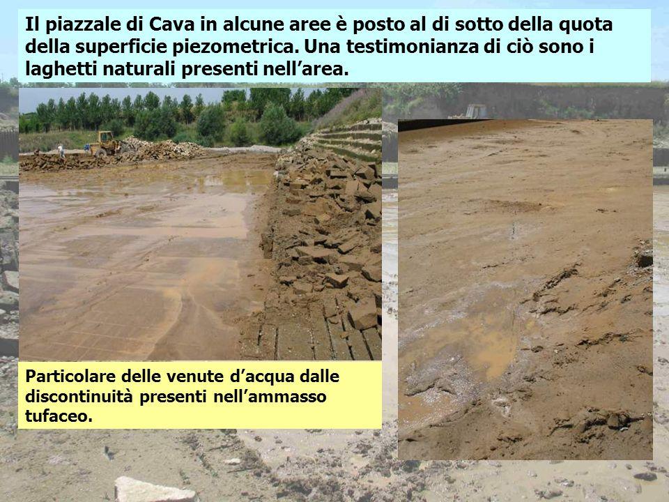 Il piazzale di Cava in alcune aree è posto al di sotto della quota della superficie piezometrica. Una testimonianza di ciò sono i laghetti naturali pr