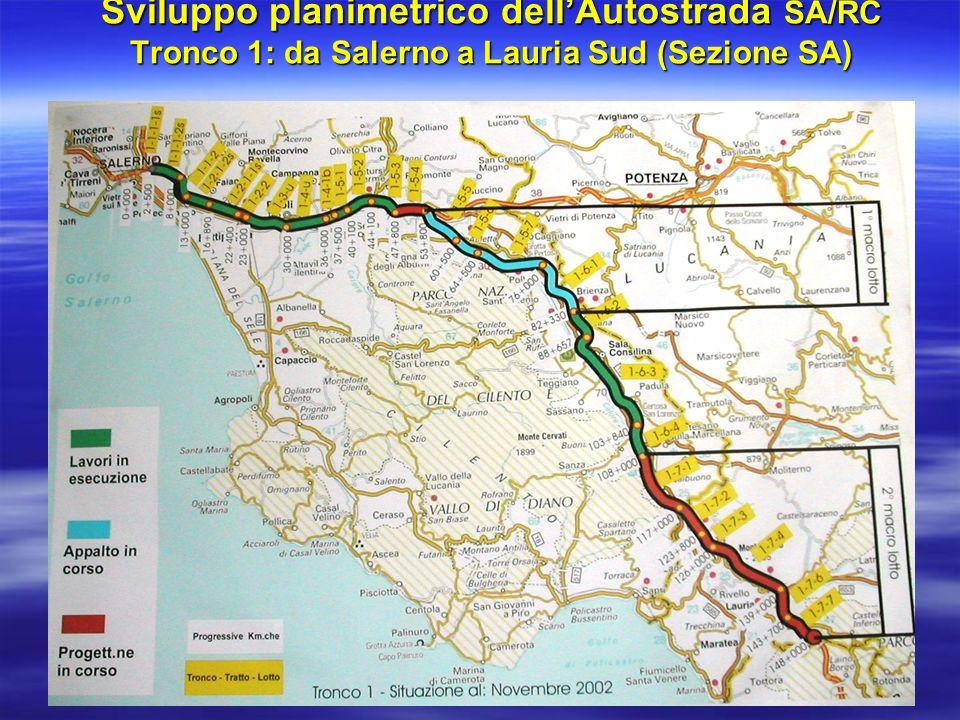 Sviluppo planimetrico dellAutostrada SA/RC Tronco 2: da Lauria Sud a Falerna (Centro CS)