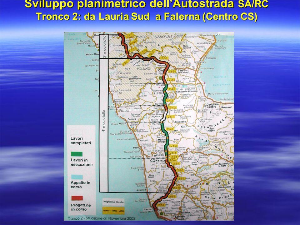 Sviluppo planimetrico dellAutostrada SA/RC Tronco 3: da Falerna a Reggio Calabria (Sezione RC)