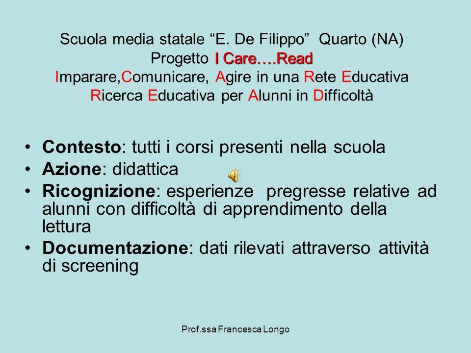Prof.ssa Francesca Longo Contesto: tutte le classi I Care….Read Scuola media statale E.
