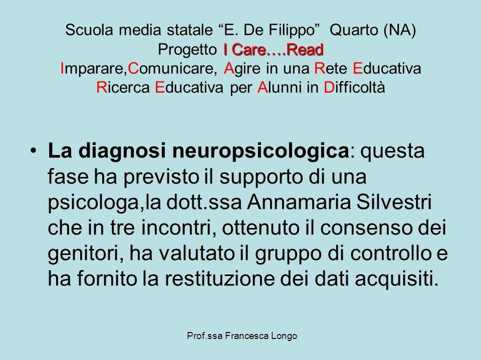 La diagnosi neuropsicologica: questa fase ha previsto il supporto di una psicologa,la dott.ssa Annamaria Silvestri che in tre incontri, ottenuto il co