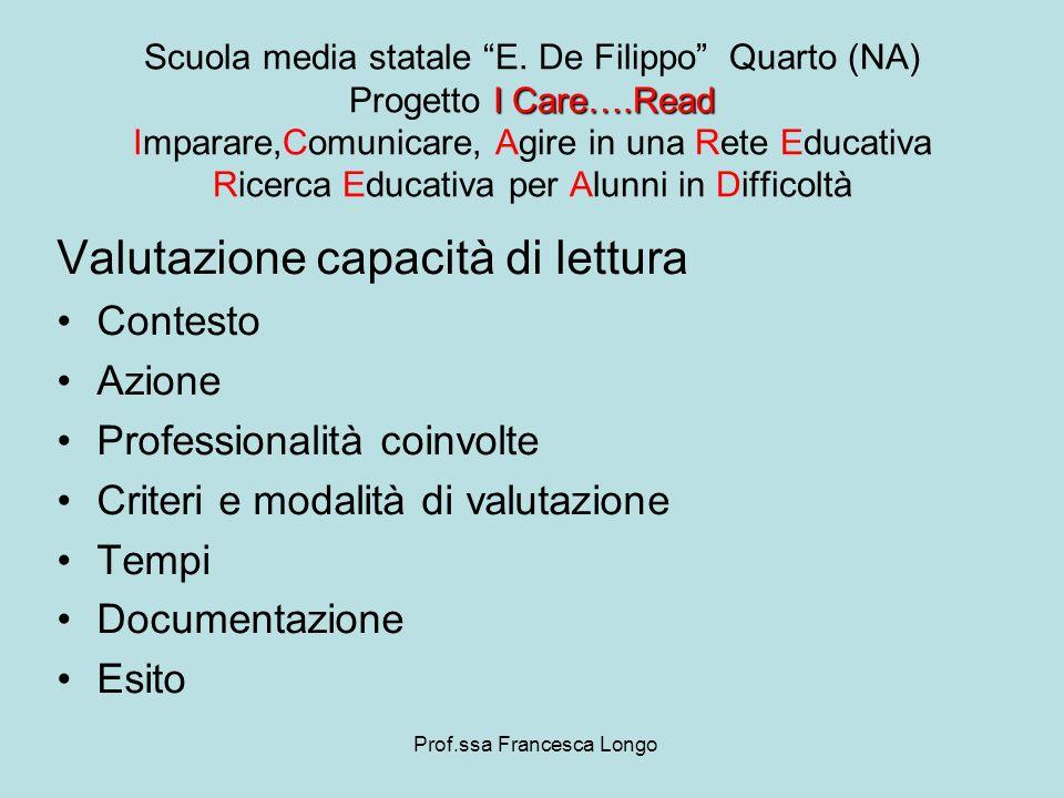 Valutazione capacità di lettura Contesto Azione Professionalità coinvolte Criteri e modalità di valutazione Tempi Documentazione Esito Prof.ssa France