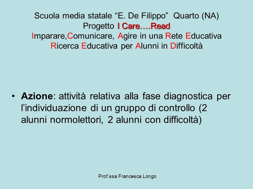 Azione: attività relativa alla fase diagnostica per lindividuazione di un gruppo di controllo (2 alunni normolettori, 2 alunni con difficoltà) Prof.ss
