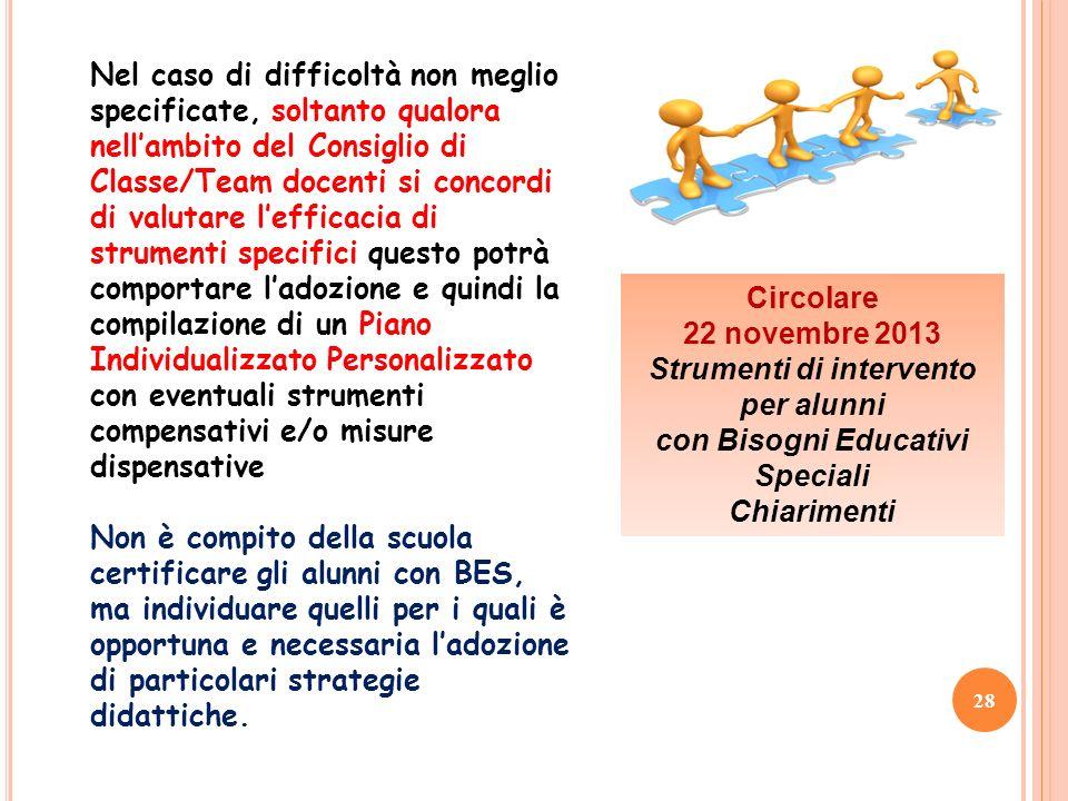 28 Nel caso di difficoltà non meglio specificate, soltanto qualora nellambito del Consiglio di Classe/Team docenti si concordi di valutare lefficacia