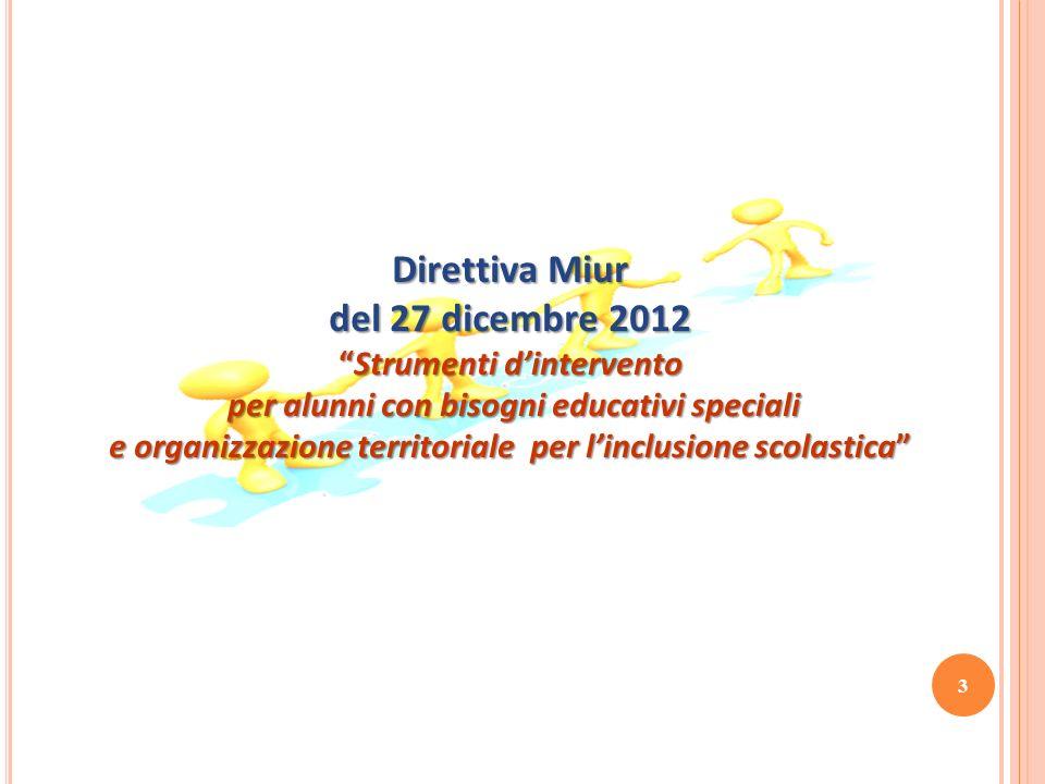 Direttiva Miur del 27 dicembre 2012 Strumenti dinterventoStrumenti dintervento per alunni con bisogni educativi speciali per alunni con bisogni educat