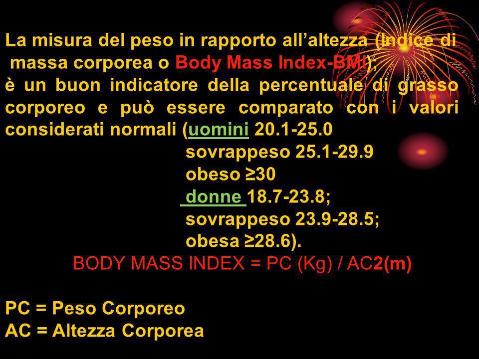 La misura del peso in rapporto allaltezza (Indice di massa corporea o Body Mass Index-BMI); è un buon indicatore della percentuale di grasso corporeo e può essere comparato con i valori considerati normali (uomini 20.1-25.0 sovrappeso 25.1-29.9 obeso 30 donne 18.7-23.8; sovrappeso 23.9-28.5; obesa 28.6).