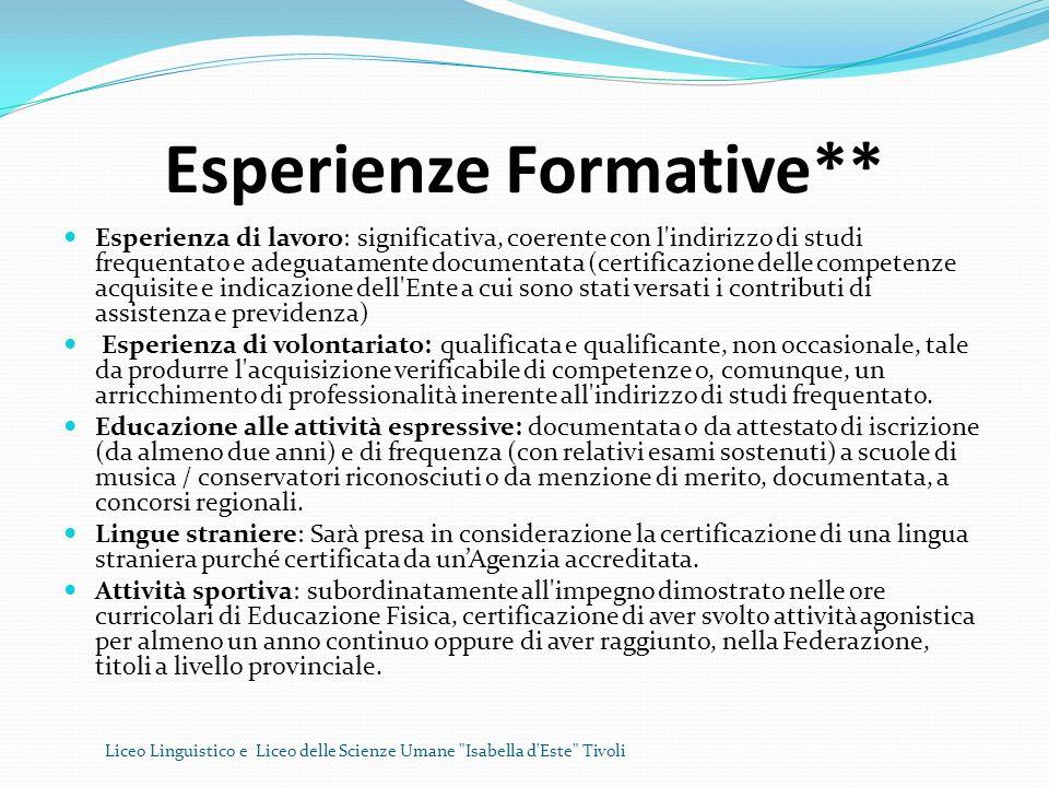 Esperienze Formative** Esperienza di lavoro: significativa, coerente con l'indirizzo di studi frequentato e adeguatamente documentata (certificazione