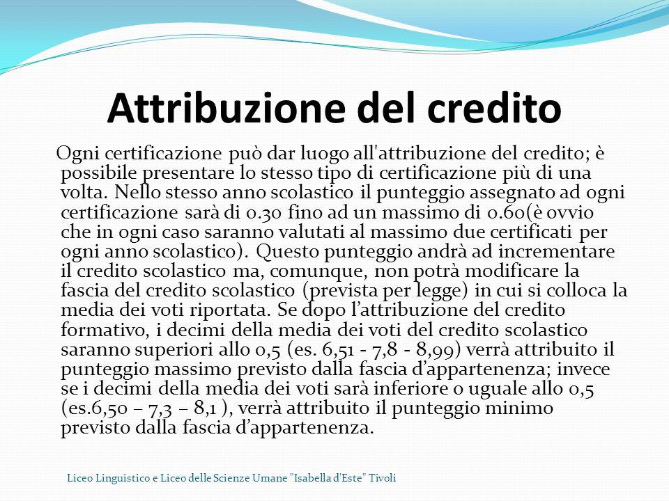Attribuzione del credito Ogni certificazione può dar luogo all'attribuzione del credito; è possibile presentare lo stesso tipo di certificazione più d